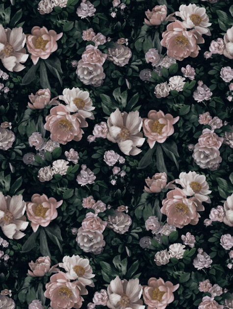 In bloom vintage rose wallpaper design for interior decorating