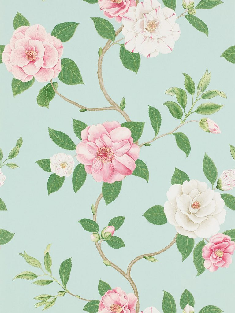 Classic trailing vintage rose wallpaper from Sanderson