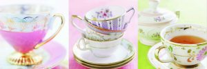Vintage teacups printed canvas set