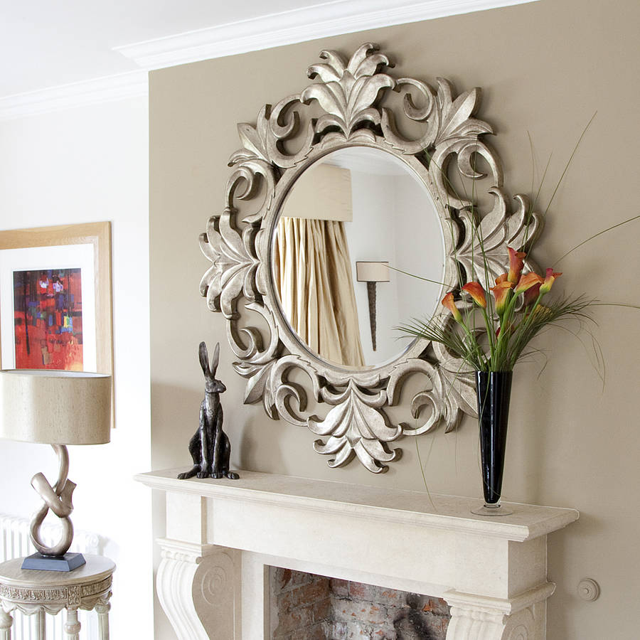 Wow factor wall mirrors Cosy Home Blog : crested silver wooden mirror from www.cosyhomeblog.com size 900 x 900 jpeg 107kB