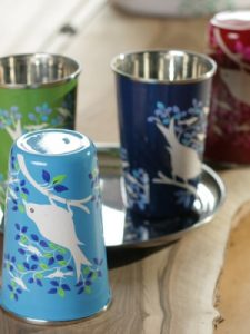 Indian hand painted bird cups