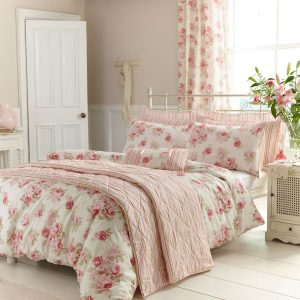 Cosy home traditional pink floral duvet