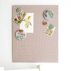 Fabric floral magnetic memo board