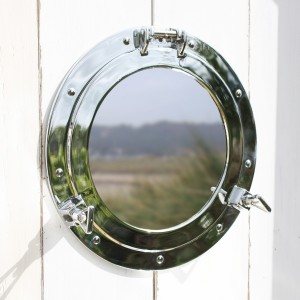 Coastal nautical porthole home mirror