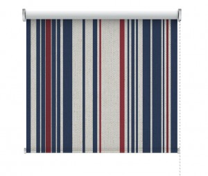Nautical coastal stripe fabric roller blind