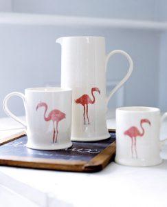 Earthenware flamingo mug and jug