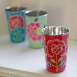 Nkuku franjipani floral enamelware cup