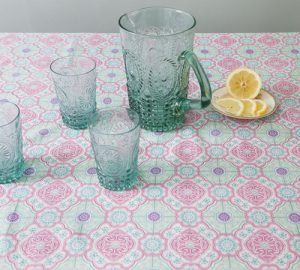 Liven up a table with a fabric table cloth