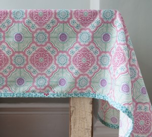 Pretty kitchen table cloth in pink and turquoise
