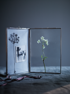 Unusual hinged glass photo and keepsake display frame