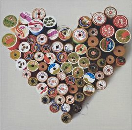 Bobbin heart wall art for a crafty cosy home