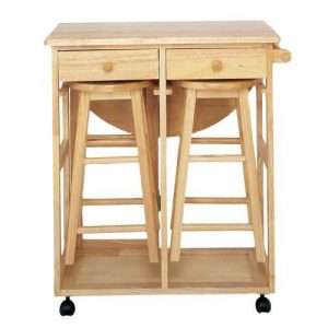 Wooden kitchen trolley with stools