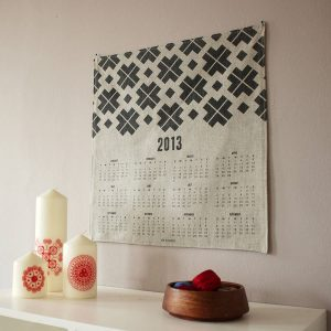 Screen printed linen 2013 wall calendar