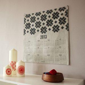 Rustic shabby chic linen fabric wall calendar