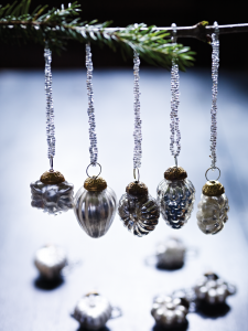 Handmade silver beaded Christmas decorations