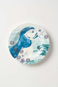 Puffin earthenware salad plate tableware