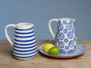Hand painted Portuguese tile pattern jug