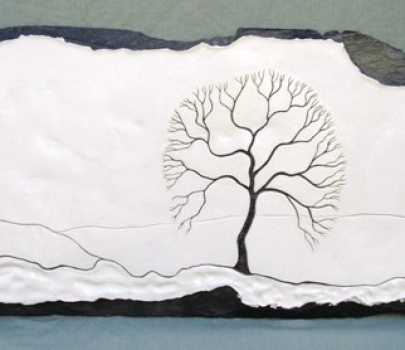 Handmade slate tree art by Bolt Hole Art