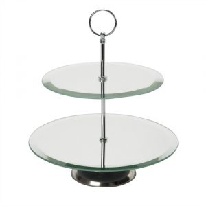 Elegant mirror finish two tier cake stand