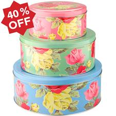 Rose design cake tins bargain buy