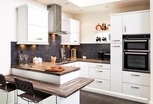 White cosy home fitted kitchen design ideas