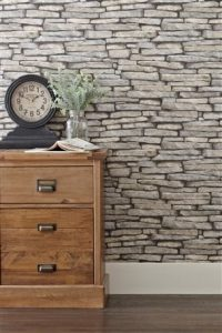 Create the look of a traditional stone wall with grey slate wallpaper