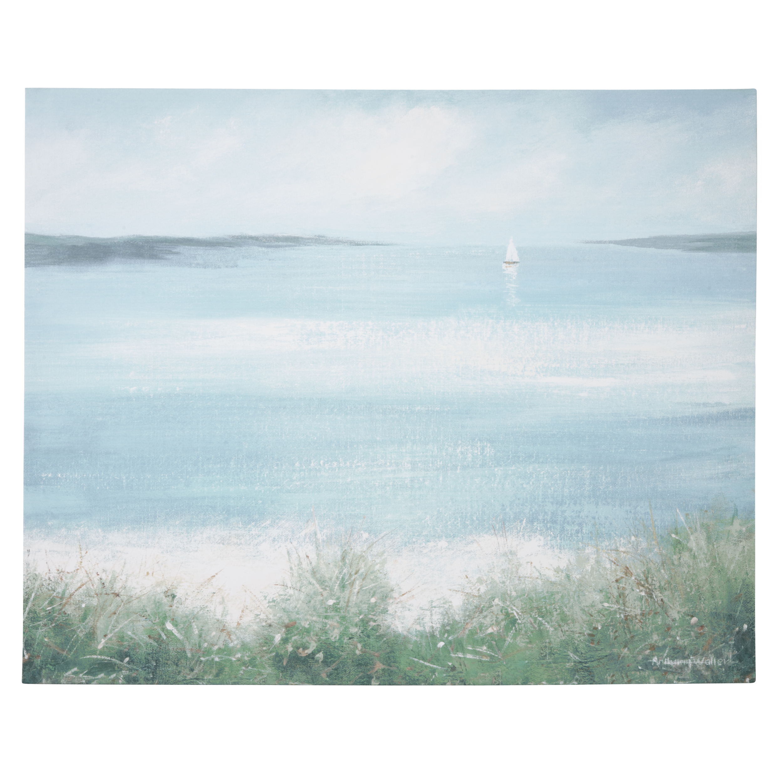 Calming wall art for a cosy home sand and sea canvas cosy home blog