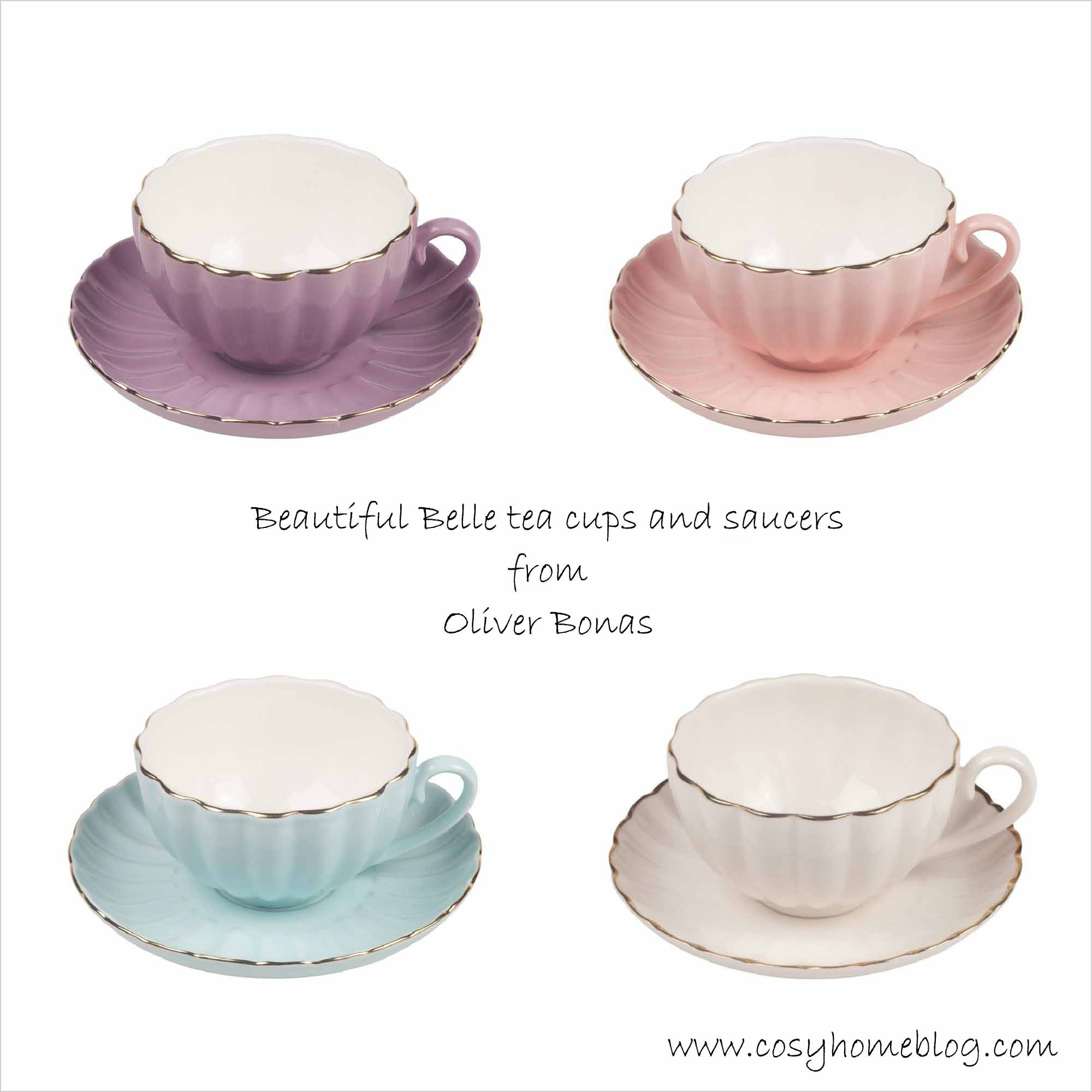 Vintage style tea cup set in pastel colours