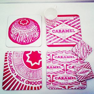 Chocolate wrapper inspired designer mats