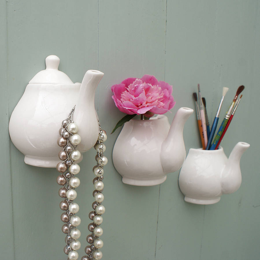 Quirky teapot vase wall hook storage