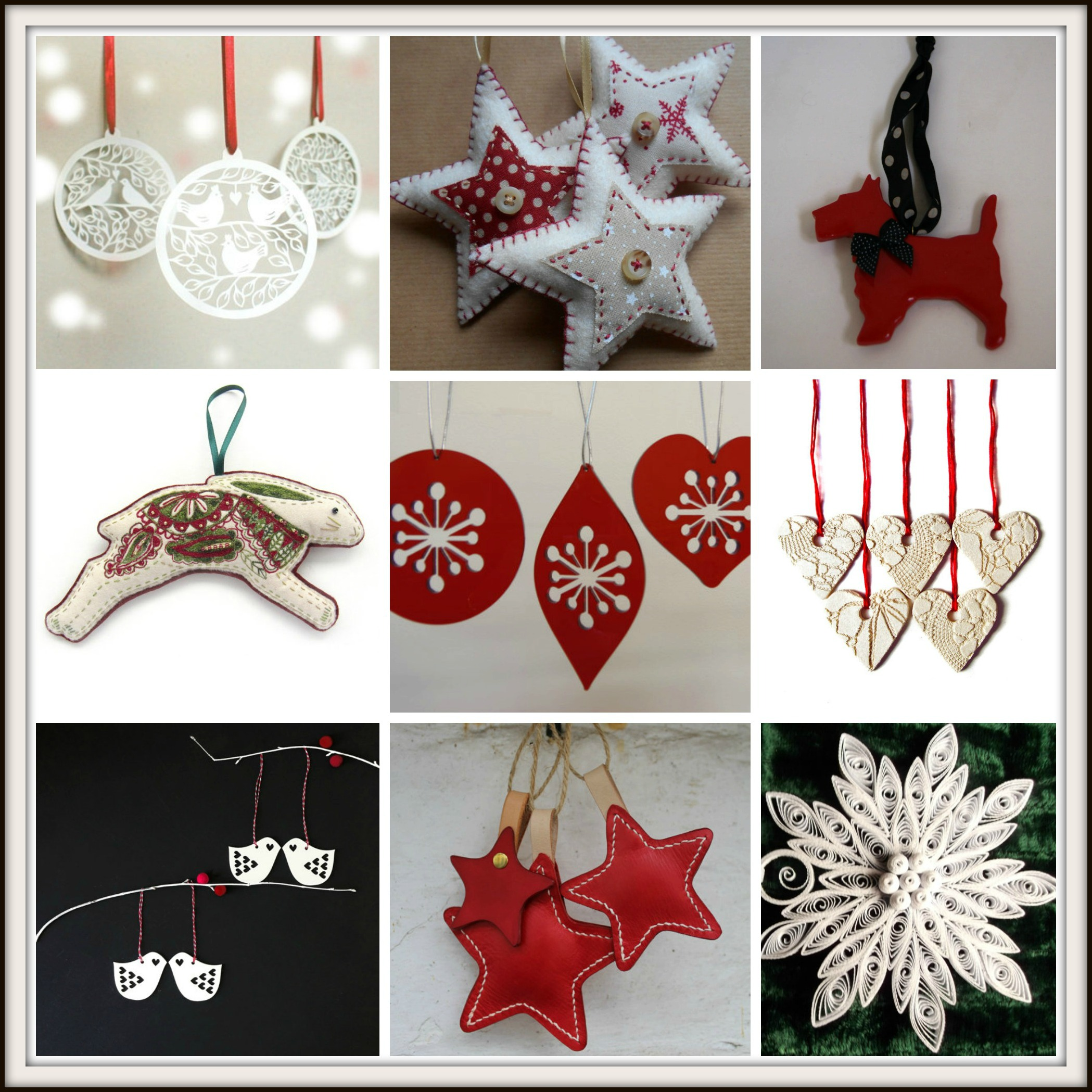 Handmade red and white christmas tree decorations from for Christmas decorations