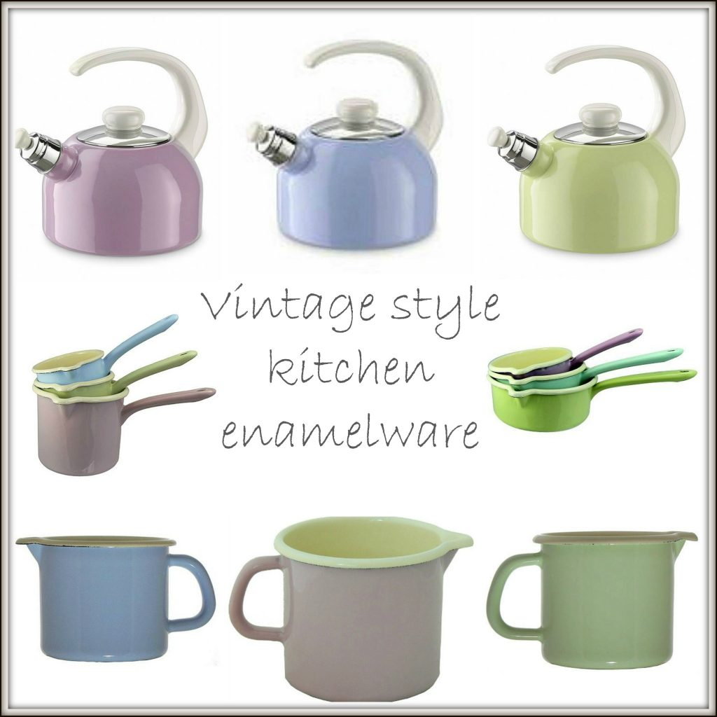 Soft pastel kitchen enamelware