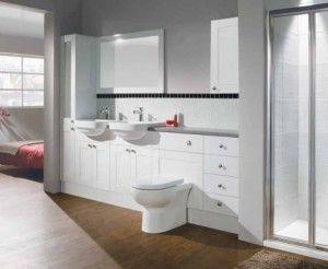 White shaker fitted bathroom storage