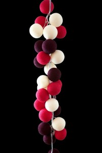 Cable and cotton lights in cherry pop