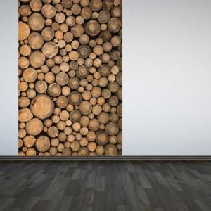 Log panel wall mural
