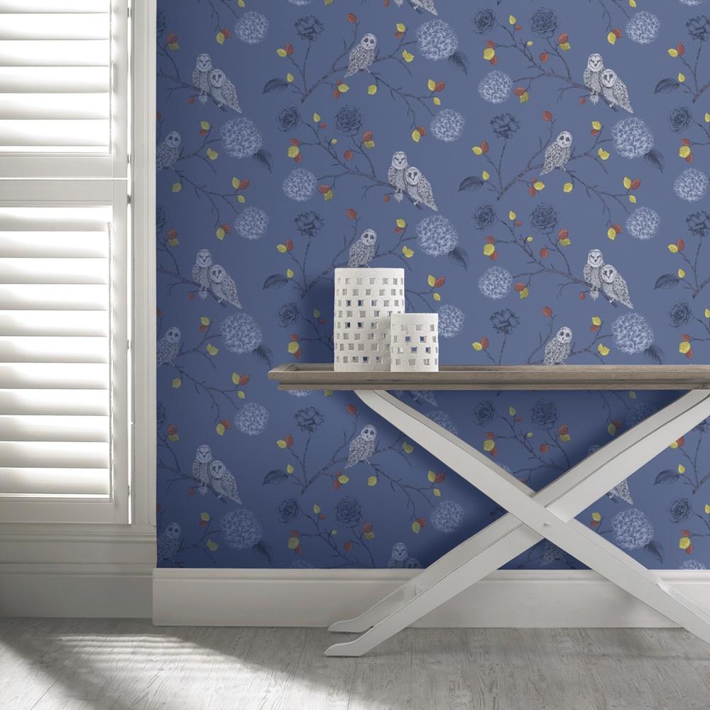 Midnight blue metallic Arthouse wallpaper