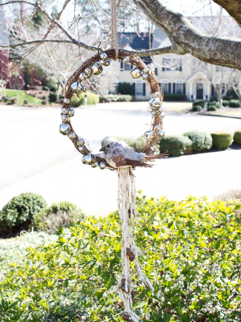 Alternative use for a Christmas wreath - garden bird decoration