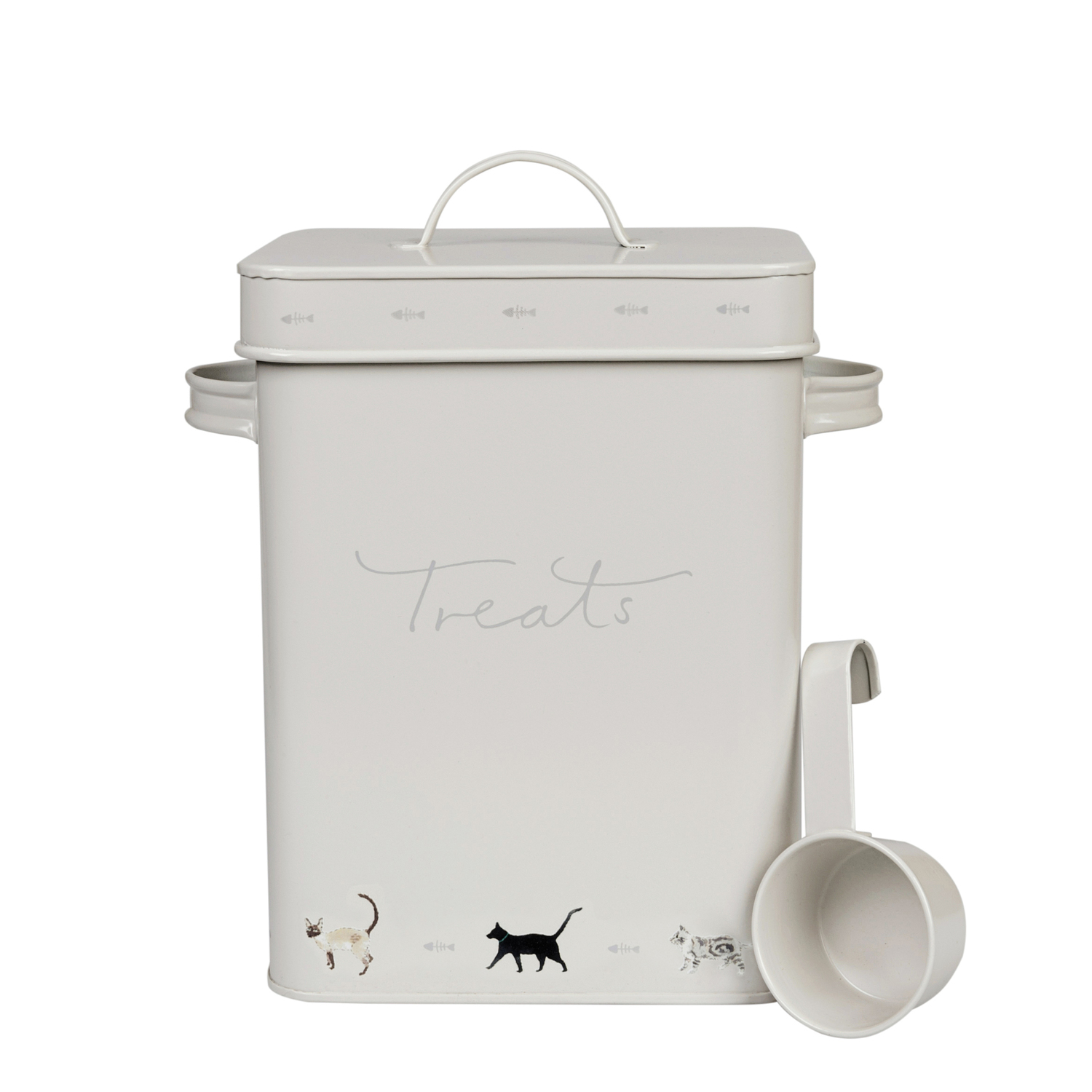 Every cat needs a treat, so why not keep them in this stylish cat treat tin.
