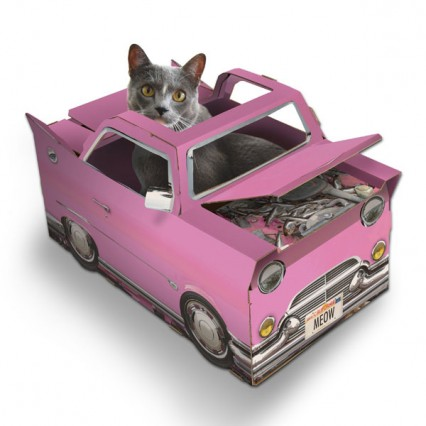 Fun pink cadillac style car that's a toy for cats!
