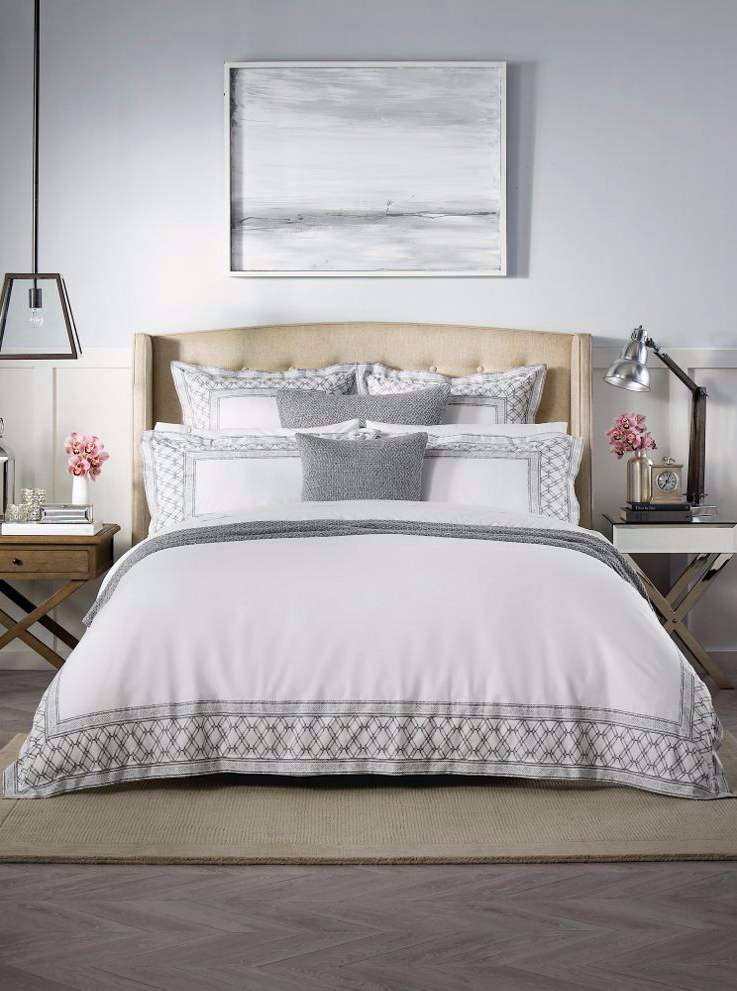 This bedroom looks super calm and cosy. Love the Sheridan Wheatley bedding and coordinating accessories.