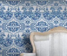 Delft blue baroque wallpaper