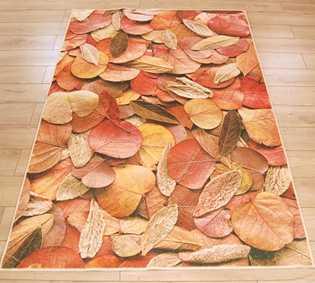 Realistic autumn leaves design rug