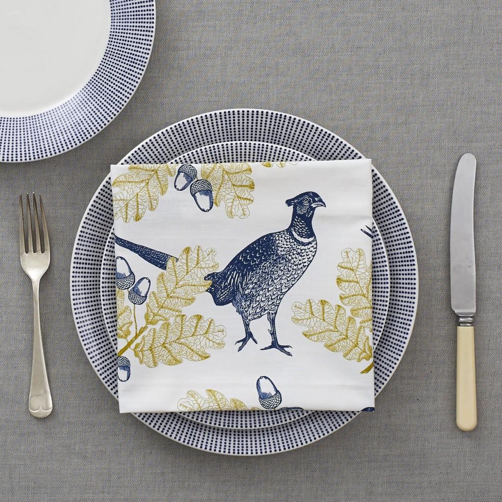 Thornback and Peel pheasant and oak leaf designer napkins
