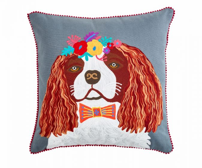 Floral king charles spaniel cushion from Pignut