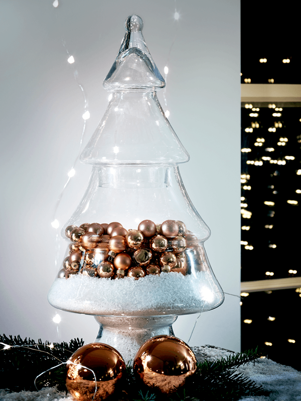 Be creative with a glass Christmas tree jar - great for creating a focal point in a festive room
