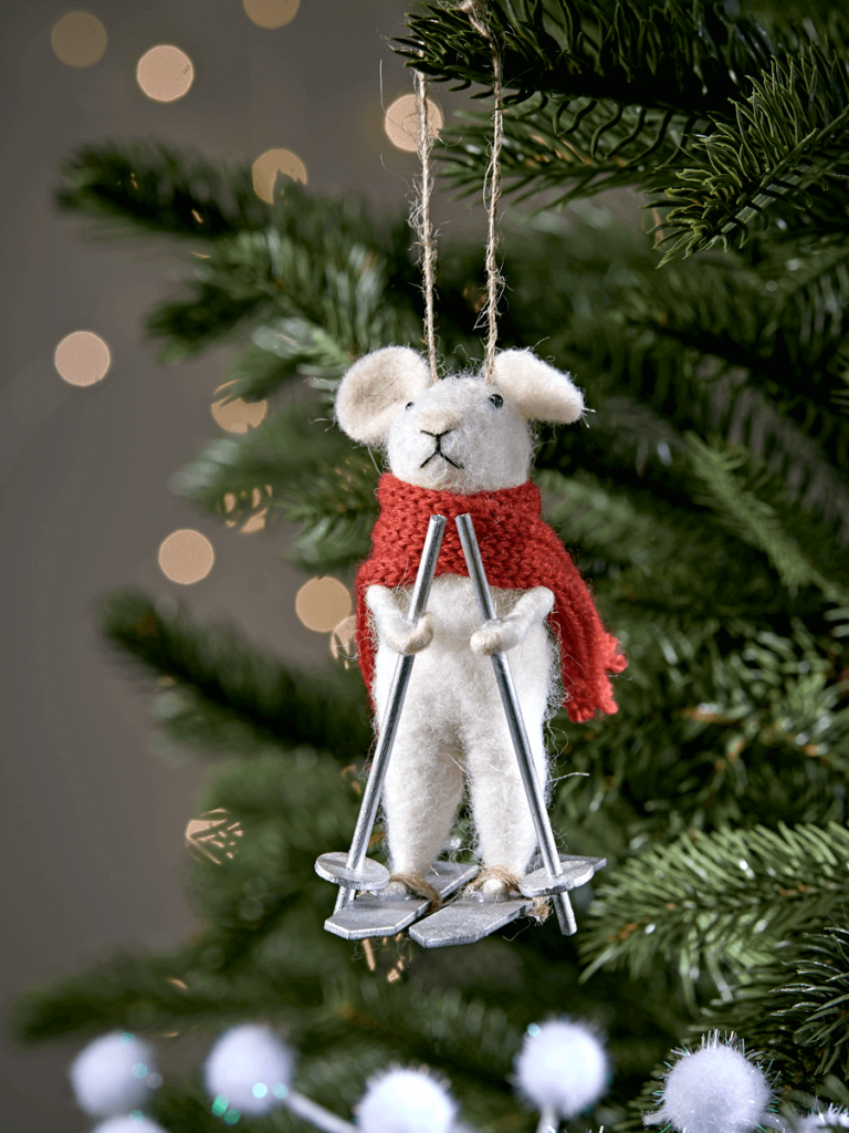 Cute skiing mouse Christmas tree decoration made from fel