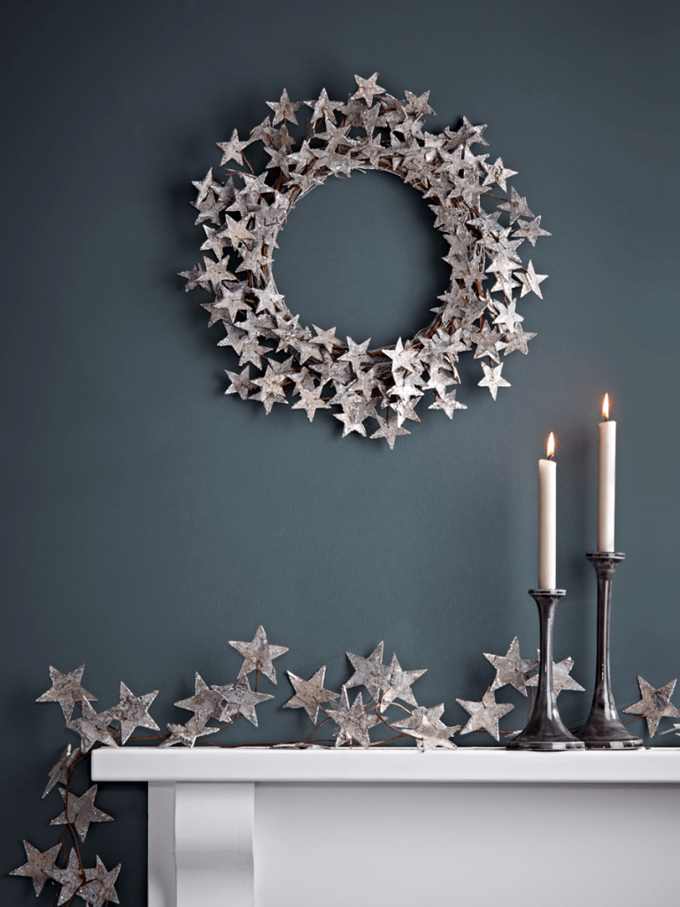 Love this starry birch Christmas wreath, it's perfect to hang as a decoration inside your hom
