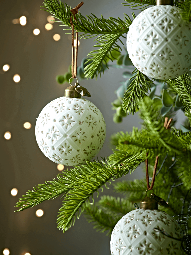 Unusual textured white Christmas tree baubles