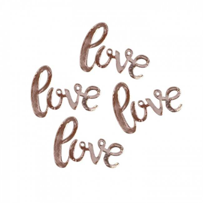 Rose gold love themed table confetti - perfect for weddings