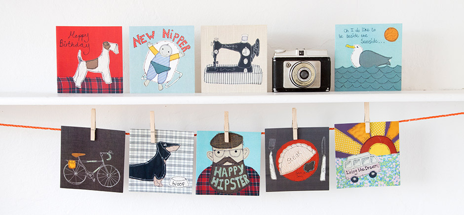 Greeting cards featuring designs by Poppy Treffry